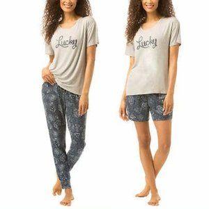 Lucky Brand 3Pc French Terry Pajama Set Gray Navy